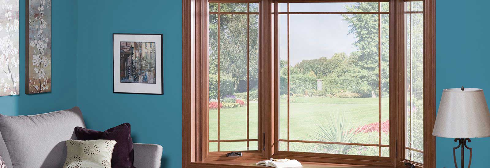 Brazilian Pecan Woodgrain Bow Vinyl Windows