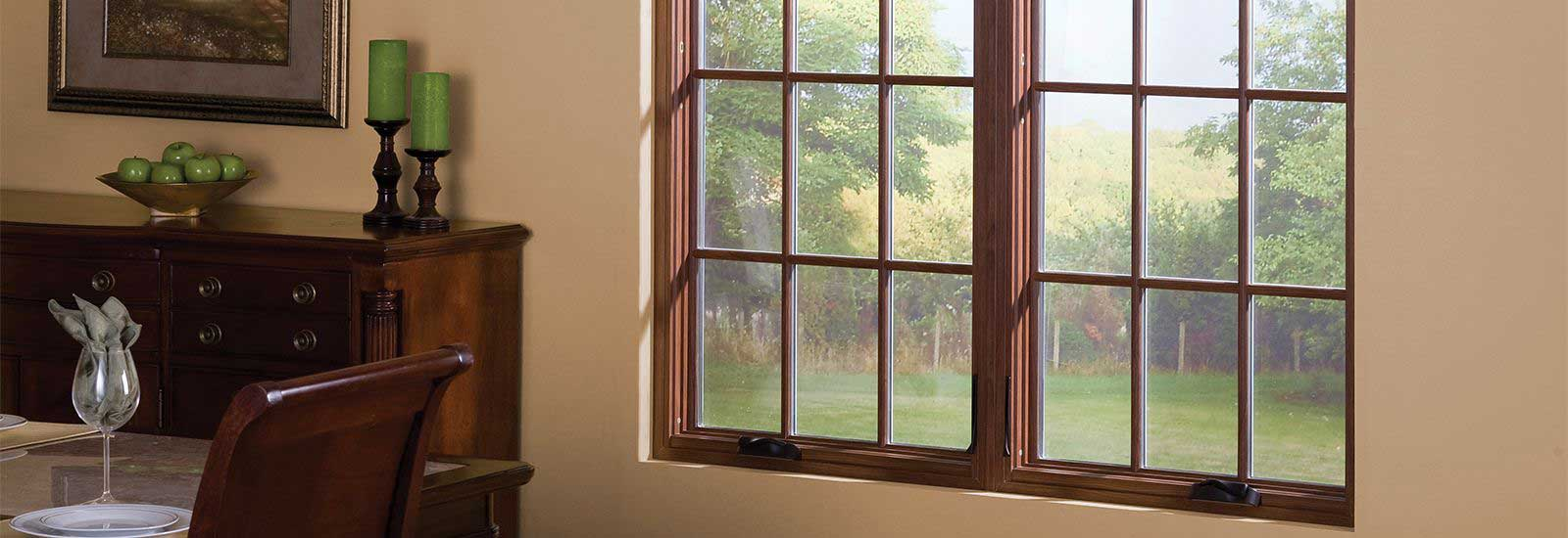 Colonial Cherry Woodgrain Vinyl Casement Windows